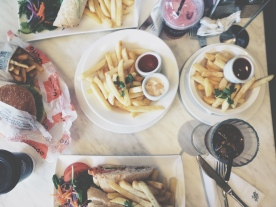 Sandwiches, wraps and burgers for lunch... we may have over ordered on the chips.