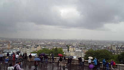 View of Paris, obscured by clouds unfortunately.