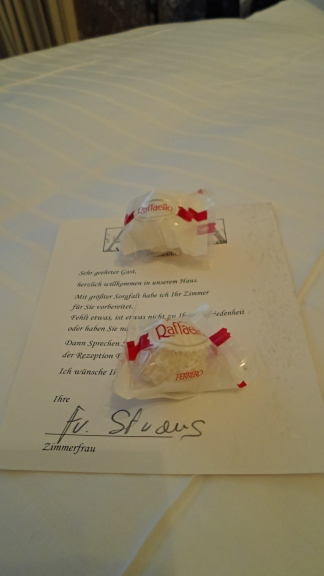 Complementary Raffaellos at the hotel.