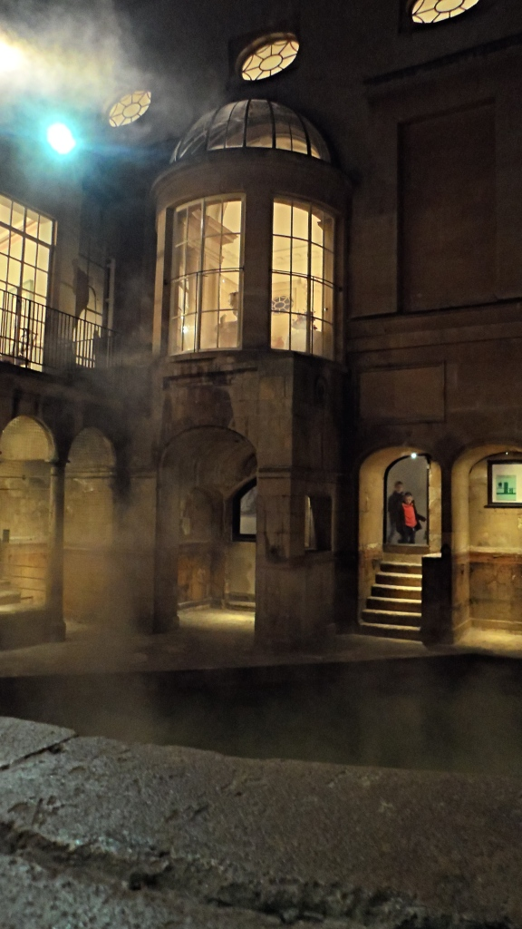 Exploring the Roman baths.
