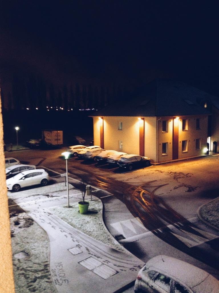 The snow outside my hotel room