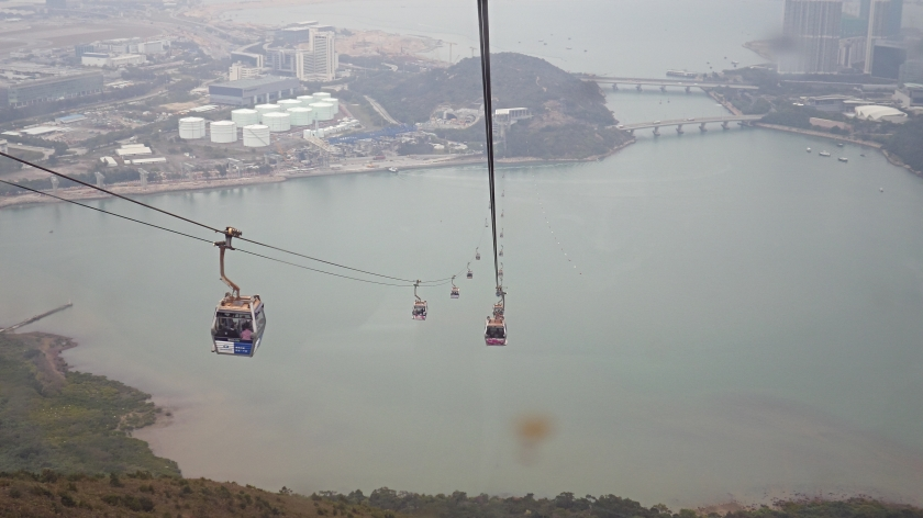 Heading to Ngong Ping village on the cable cars