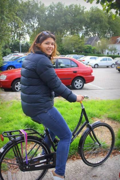 Moana biking in the Netherlands. Photo: Moana's friend Lynn