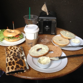 Bagels for lunch on Cuba Street